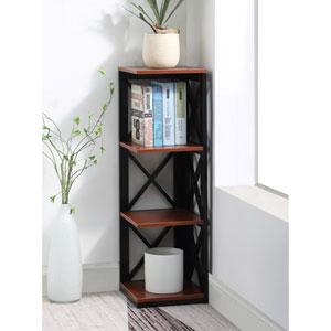 Oxford 3 Tier Corner Bookcase in Cherry and Black