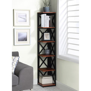 Oxford 5 Tier Corner Bookcase in Cherry and Black