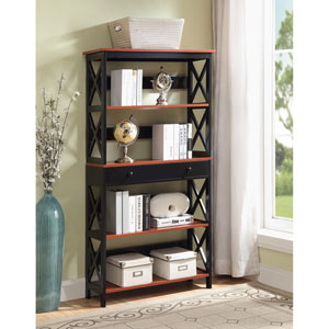 Oxford 5 Tier Bookcase with Drawer in Cherry and Black