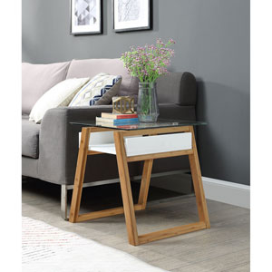 Oslo Sundance End Table in White with Bamboo