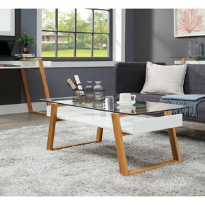 Oslo Sundance Coffee Table in White with Bamboo