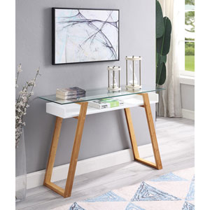 Oslo Sundance Console Table in White with Bamboo