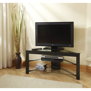 Black Wood Grain and Glass Corner TV Stand