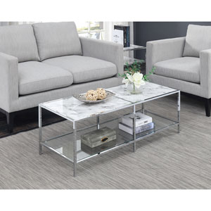 Gold Coast Carrara Coffee Table in Faux White Marble and Chrome