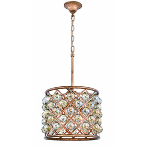 Madison Gold Iron 14-Inch Four-Light Pendant with Gold Teak Royal Cut Crystal