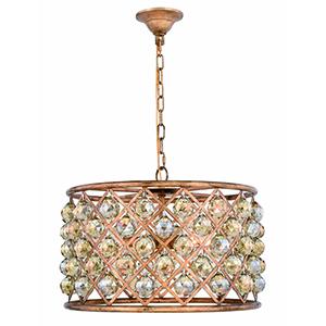 Madison Gold Iron Six-Light Pendant with Gold Teak Royal Cut Crystal