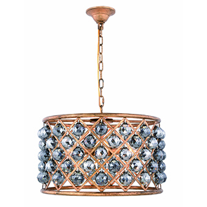 Madison Gold Iron Six-Light Pendant with Silver Shade Royal Cut Crystal