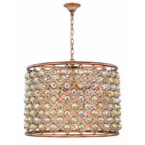 Madison Gold Iron 27-Inch Eight-Light Chandelier with Gold Teak Royal Cut Crystal