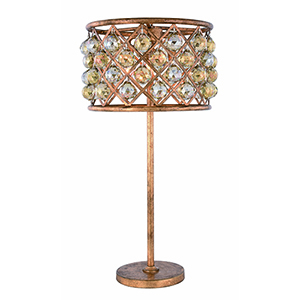 Madison Golden Iron 32-Inch Three-Light Table Lamp with Royal Cut Crystal