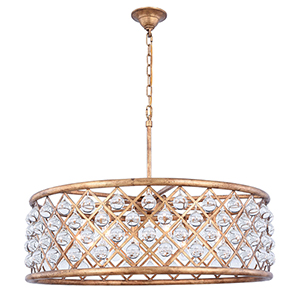 Madison Gold Iron Eight-Light Chandelier with Royal Cut Crystal