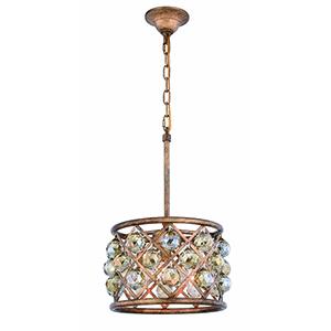 Madison Gold Iron Three-Light Pendant with Gold Teak Royal Cut Crystal