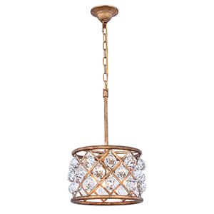 Madison Gold Iron Three-Light Pendant with Royal Cut Crystal