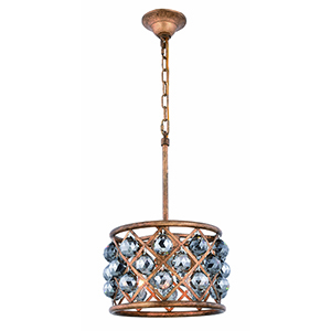 Madison Gold Iron Three-Light Pendant with Silver Shade Royal Cut Crystal