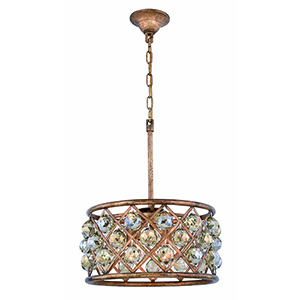 Madison Gold Iron 16-Inch Four-Light Pendant with Gold Teak Royal Cut Crystal