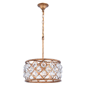 Madison Gold Iron Four-Light Pendant with Royal Cut Crystal