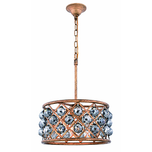 Madison Gold Iron 16-Inch Four-Light Pendant with Silver Shade Royal Cut Crystal