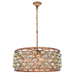 Madison Gold Iron 25-Inch Six-Light Chandelier with Gold Teak Royal Cut Crystal
