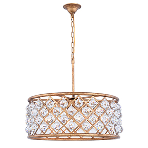 Madison Gold Iron Six-Light Chandelier with Royal Cut Crystal