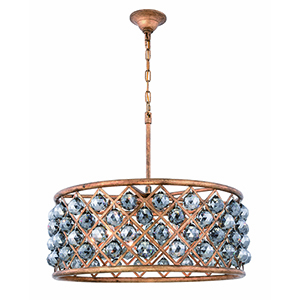 Madison Gold Iron 25-Inch Six-Light Chandelier with Silver Shade Royal Cut Crystal