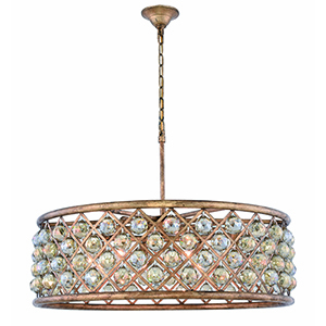 Madison Gold Iron 32-Inch Eight-Light Chandelier with Gold Teak Royal Cut Crystal