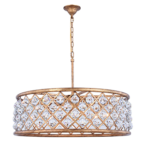 Madison Gold Iron Eight-Light Chandelier with Clear Royal Cut Crystal