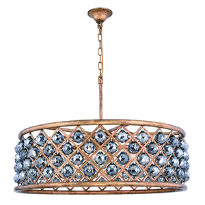 Madison Gold Iron 32-Inch Eight-Light Chandelier with Silver Shade Royal Cut Crystal