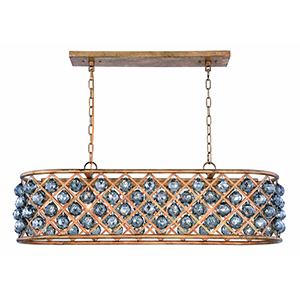 Madison Gold Iron 40-Inch Six-Light Chandelier with Silver Shade Royal Cut Crystal