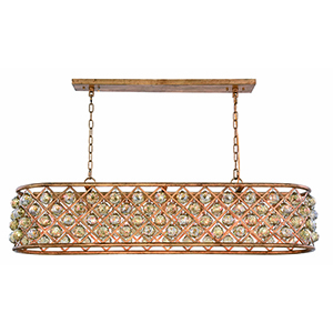 Madison Gold Iron Seven-Light Chandelier with Gold Teak Royal Cut Crystal