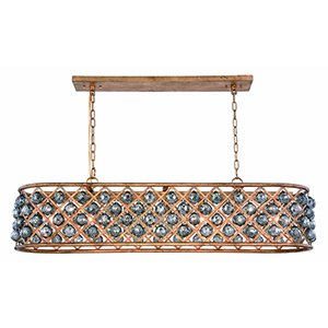 Madison Gold Iron Seven-Light Chandelier with Silver Shade Royal Cut Crystal