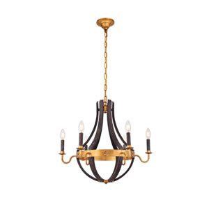 Woodland Saddle Rust and Golden Iron 24-Inch Six-Light Chandelier