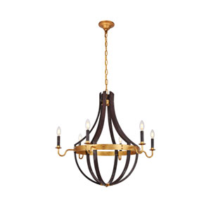 Woodland Saddle Rust and Golden Iron 31-Inch Six-Light Chandelier