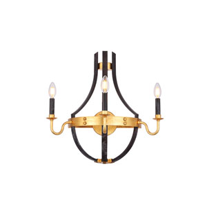 Woodland Saddle Rust and Golden Iron 20-Inch Three-Light Wall Sconce