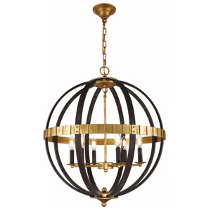 Orbus Saddle Rust and Golden Six-Light Chandelier