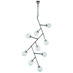 Leda Polished Nickel Nine-Light Chandelier