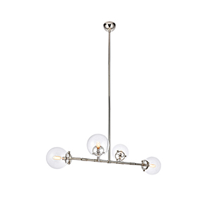 Leda Polished Nickel Four-Light Chandelier