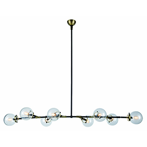 Leda Burnished Brass and Flat Black 66-Inch Eight-Light Chandelier