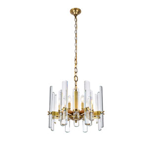 Lincoln Burnished Brass 20-Inch Eight-Light Chandelier