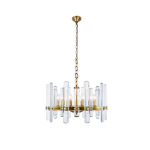 Lincoln Burnished Brass 25-Inch 10-Light Chandelier