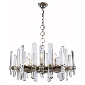 Lincoln Polished Nickel 30-Inch 10-Light Chandelier