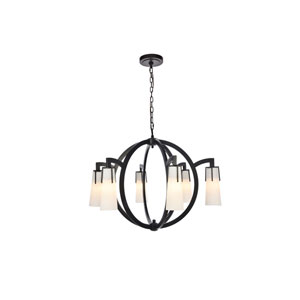 Harlow Nights Vintage Bronze 36-Inch Six-Light Chandelier