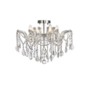Maria Theresa Chrome 18-Inch Four-Light Flush Mount with Clear Elegant Cut Crystal