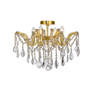 Maria Theresa Gold 18-Inch Four-Light Flush Mount with Clear Elegant Cut Crystal