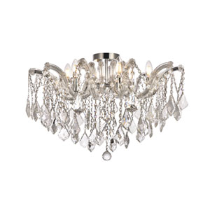 Maria Theresa Chrome 24-Inch Six-Light Flush Mount with Clear Elements Crystal