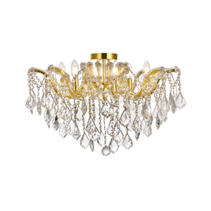 Maria Theresa Gold 24-Inch Six-Light Flush Mount with Clear Elegant Cut Crystal