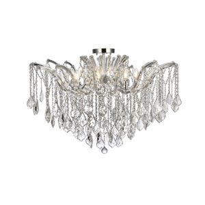 Maria Theresa Chrome 36-Inch Eight-Light Flush Mount with Clear Royal Cut Crystal