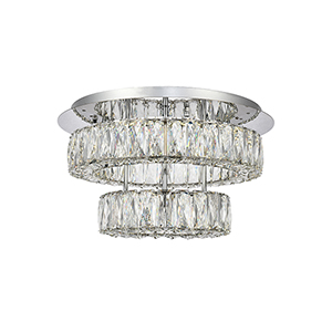 Monroe Chrome 17-Inch Two-Tier LED Flush Mount