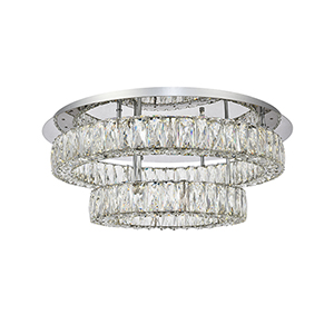 Monroe Chrome Two-Tier LED Flush Mount