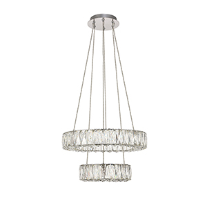 Monroe Chrome 17-Inch Two-Tier LED Pendant