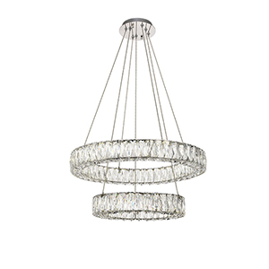 Monroe Chrome 26-Inch Two-Tier LED Chandelier