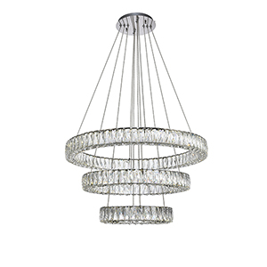 Monroe Chrome Three-Tier LED Chandelier